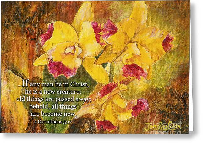 Yellow Orchids Acrylic 2 Cor 5 Greeting Card
