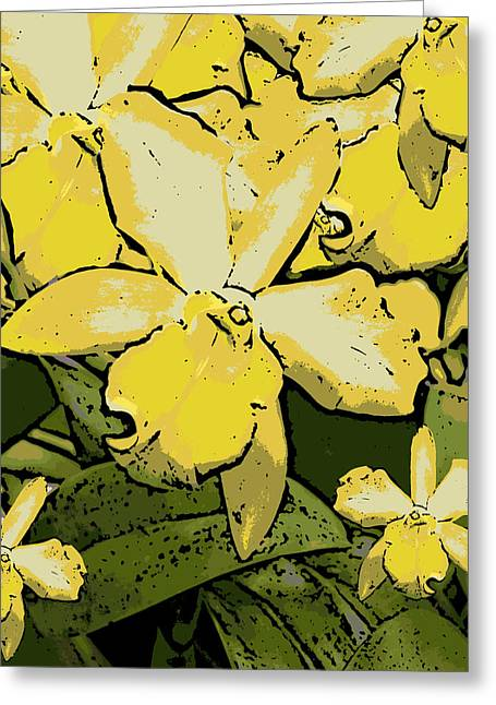 Yellow Orchids Woodcut Greeting Card by Ann Tracy