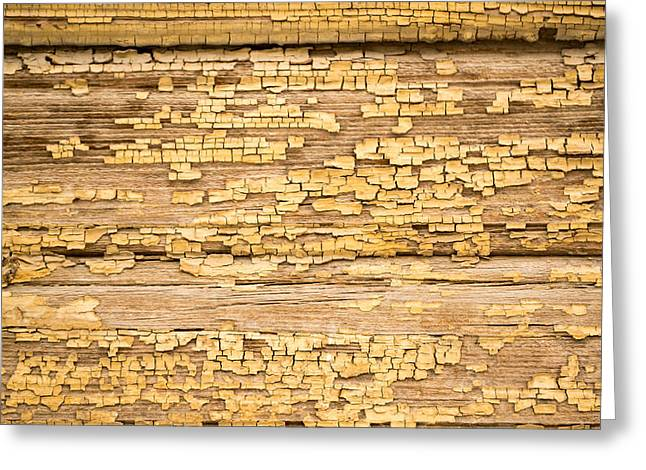 Yellow Painted Aged Wood Greeting Card by John Williams