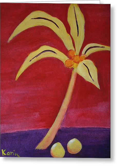Greeting Card featuring the greeting card Yellow Palm by Karin Eisermann
