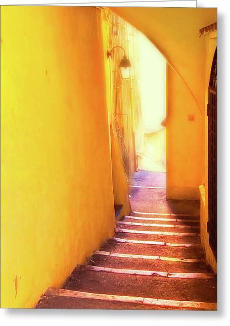 Greeting Card featuring the photograph Yellow Passage  by Harry Spitz