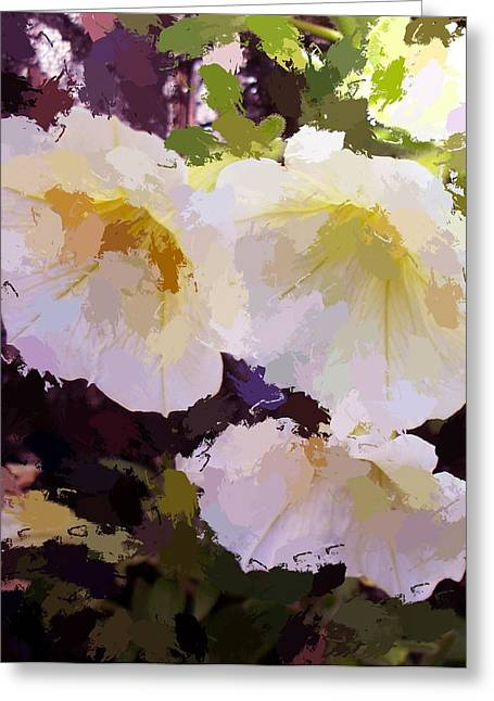 Greeting Card featuring the photograph Yellow Petunias by Carol Grimes
