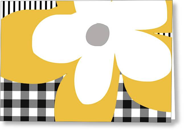 Yellow Picnic Flower- Art By Linda Woods Greeting Card by Linda Woods