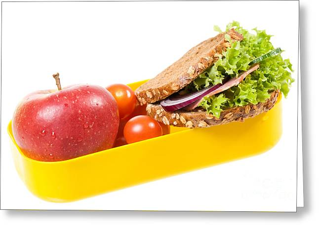 Yellow Plastic Lunch Box With Sandwich And Apple  Greeting Card by Arletta Cwalina