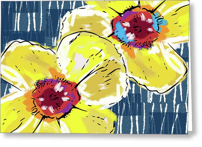 Greeting Card featuring the mixed media Yellow Poppies 2- Art By Linda Woods by Linda Woods