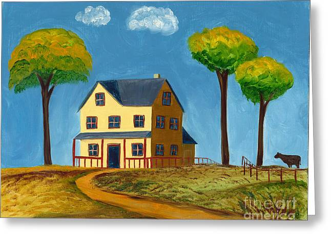 Yellow Prairie House Greeting Card