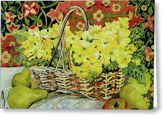 Yellow Primroses In A Basket,with Fruit And Textiles Greeting Card by Joan Thewsey