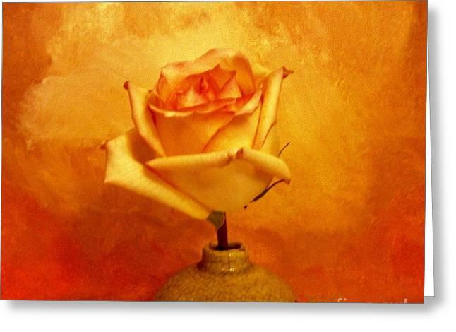 Yellow Red Orange Tipped Rose Greeting Card by Marsha Heiken