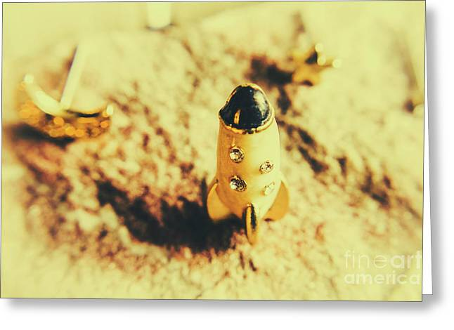 Yellow Rocket On Planetoid Exploration Greeting Card