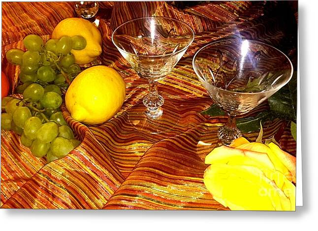 Yellow Rose, 2 Glasses, Grapes, Lemons Greeting Card