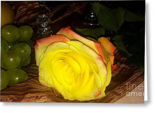 Yellow Rose And Grapes Greeting Card