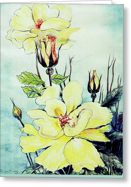Yellow Rose In A Suffolk Breeze Greeting Card by Joan Thewsey