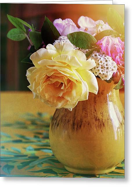 Yellow Rose In A Yellow Pitcher Greeting Card by Sherrie Triest