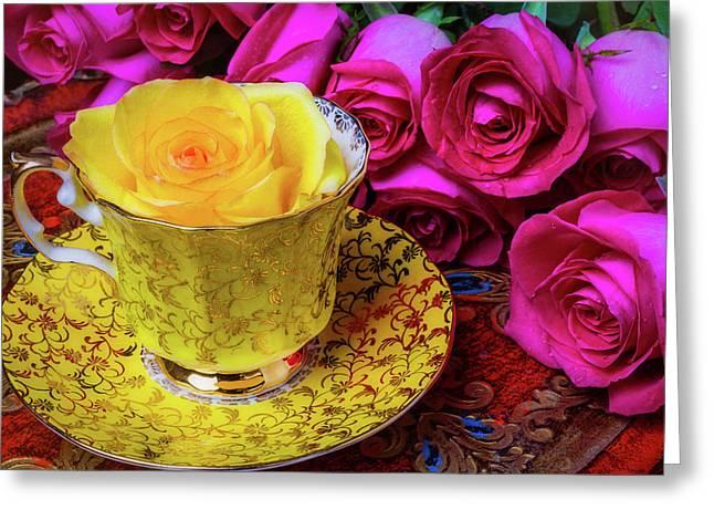 Yellow Rose In Tea Cup Greeting Card
