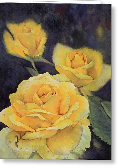 Yellow Rose Greeting Card by Leah Wiedemer