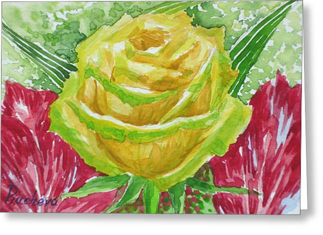 Yellow Rose. Greeting Card by Natalia Piacheva