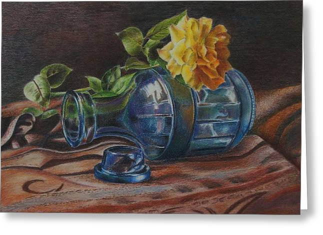 Yellow Rose On Blue Greeting Card by Mary Jo Jung