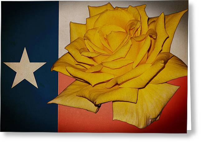 Yellow Rose On Texas Greeting Card by William Havle
