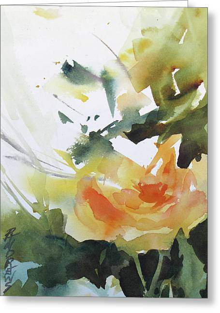 Yellow Rose Greeting Card by Rae Andrews