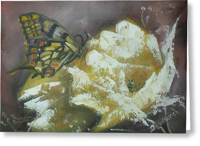 Greeting Card featuring the painting Yellow Roses And Butterfly by Raymond Doward