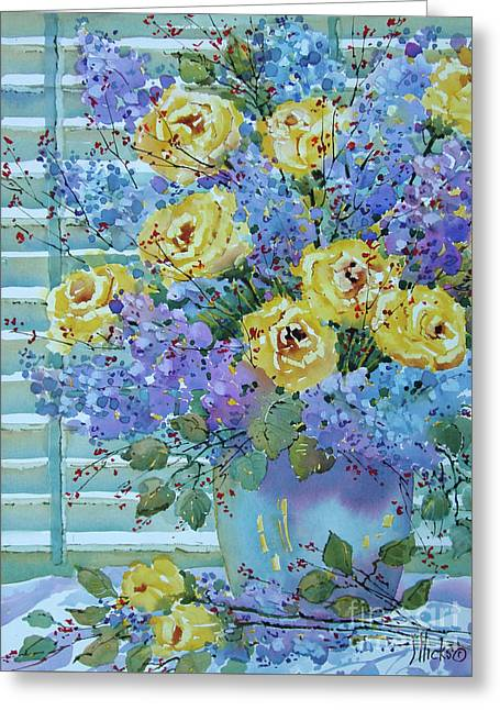 Yellow Roses And Lilacs Greeting Card