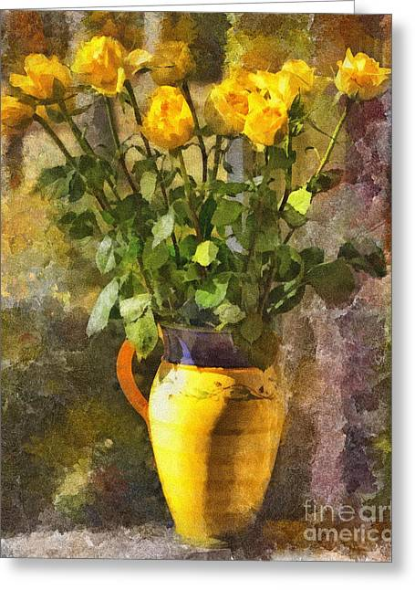 Yellow Roses Bouquet Greeting Card