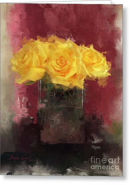 Greeting Card featuring the digital art Yellow Roses by Dwayne Glapion