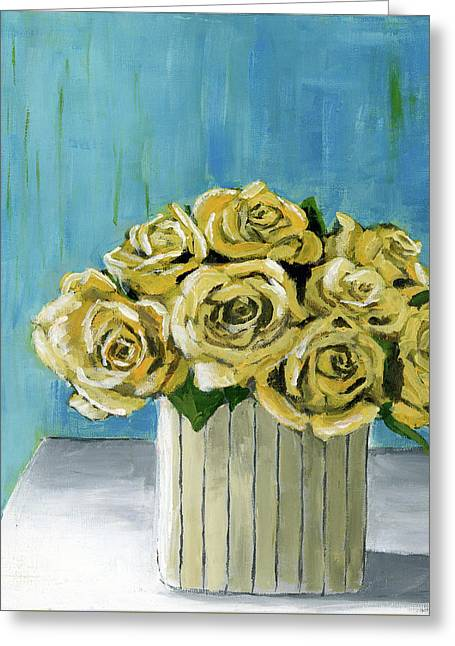 Yellow Roses In Vase Greeting Card