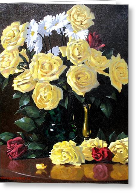 Yellow Roses Greeting Card by Kevin Lawrence Leveque