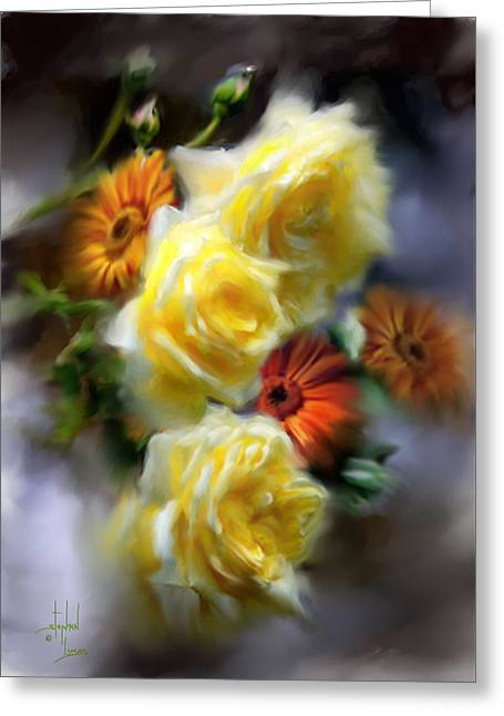 Yellow Roses Greeting Card by Stephen Lucas