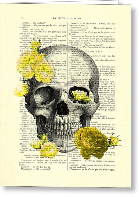 Skull With Yellow Roses Dictionary Art Print Greeting Card by Madame Memento