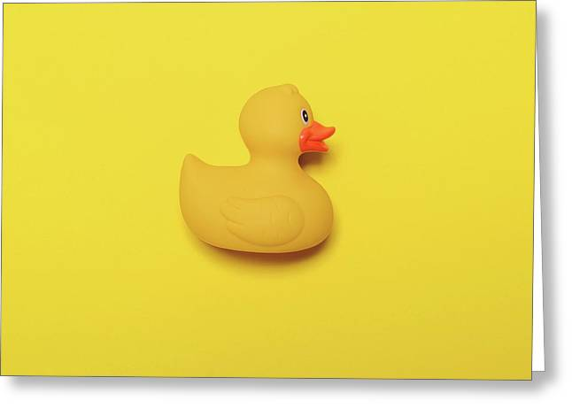 Yellow Rubber Duck On Yellow Background - Minimal Design Greeting Card