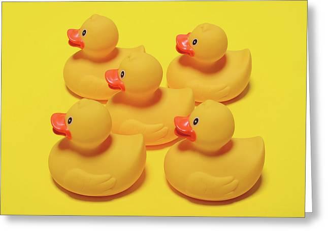 Yellow Rubber Ducks On Yellow Background - Minimal Design Greeting Card
