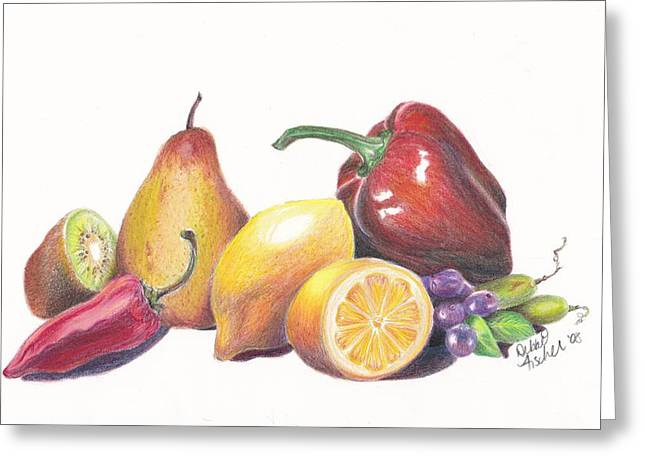 Yellow Salad Greeting Card by Debbie Fischer