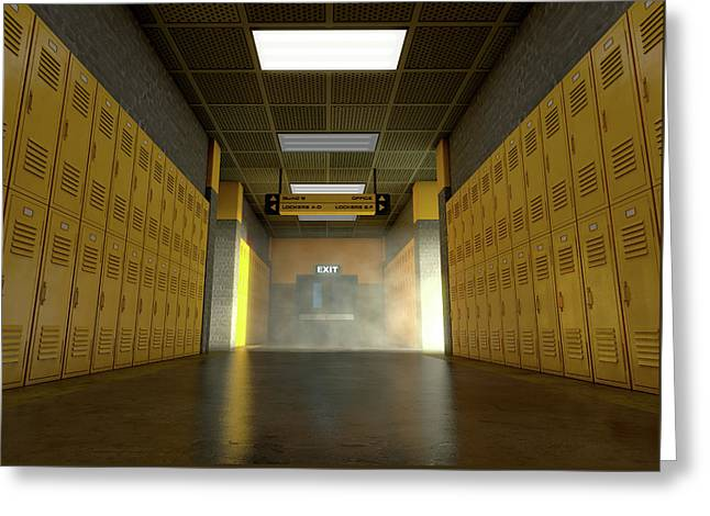Yellow School Lockers Dirty Greeting Card