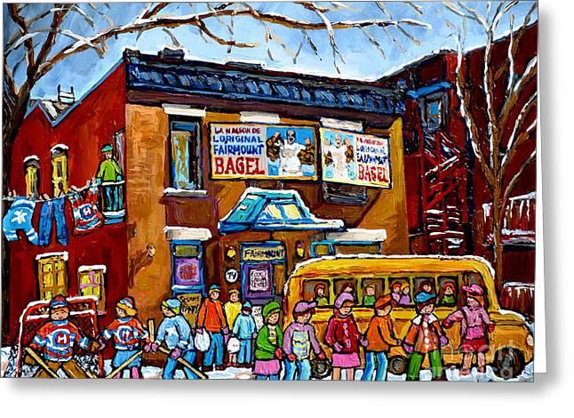 Yellow School Bus Painting Fairmount Bagel Montreal Memories Canadian Winters Kids Playing Hockey Greeting Card
