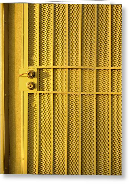 Yellow Security Door Venice Beach California Greeting Card
