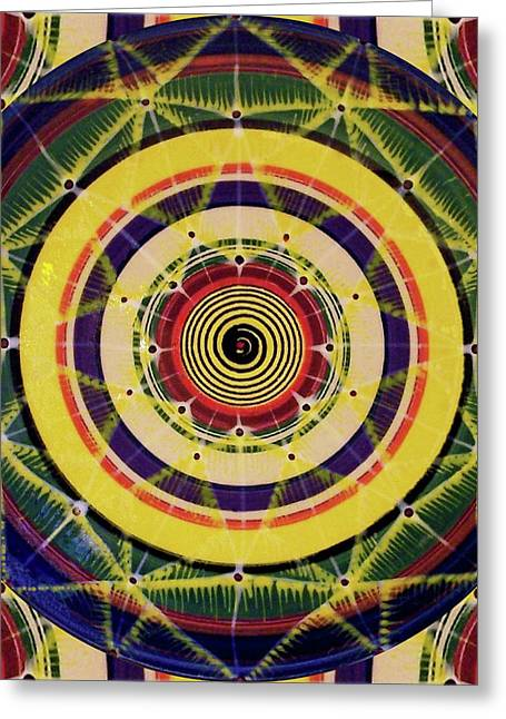 Greeting Card featuring the painting Yellow Spiral by Kym Nicolas