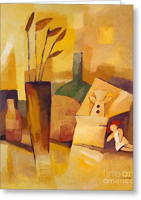 Yellow Still Life Greeting Card by Lutz Baar