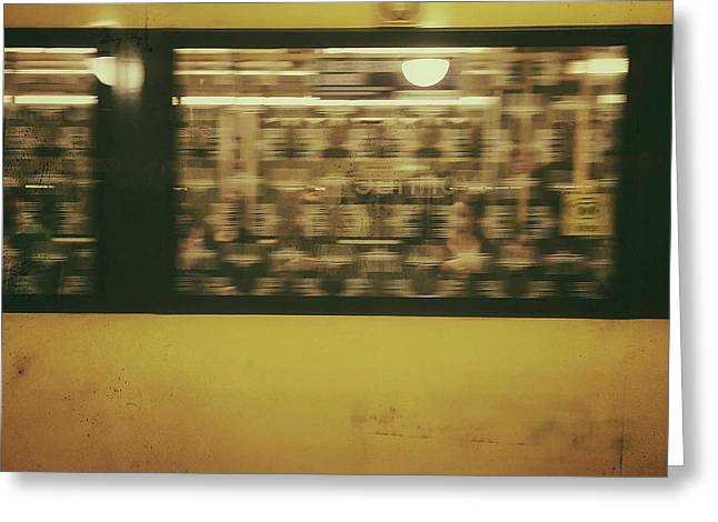 Yellow Subway Train Greeting Card by Ivy Ho