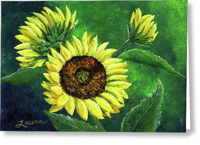 Yellow Sunflowers On Green Greeting Card by Laura Iverson