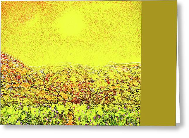 Greeting Card featuring the digital art Yellow Sunlit Path - Marin California by Joel Bruce Wallach