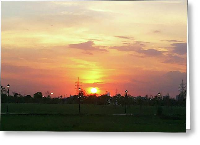 Yellow Sunset At Park Greeting Card