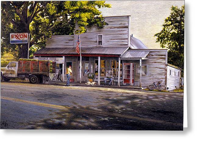 Yellow Sweater Freeman Store Greeting Card by Craig Shillam