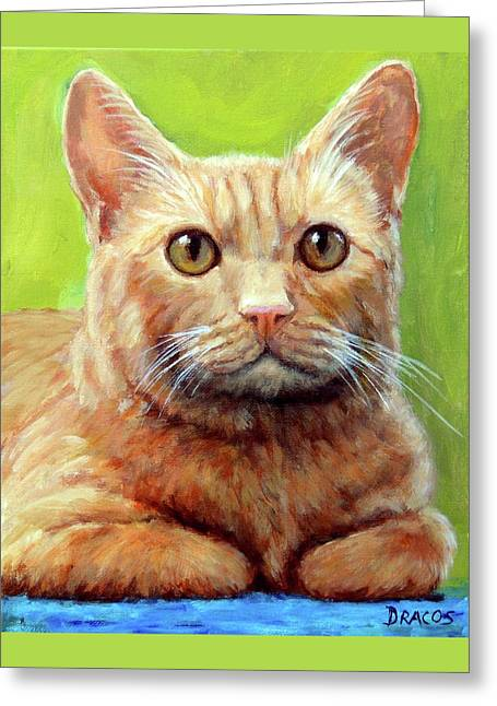 Yellow Tabby Cat Hands Folded Greeting Card
