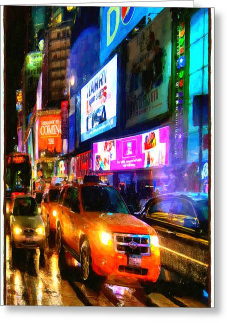 Yellow Taxi Cabs  Greeting Card