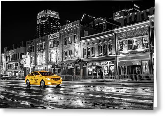 Greeting Card featuring the photograph Yellow Taxi Cab On Lower Broadway - Nashville Tennessee by Gregory Ballos