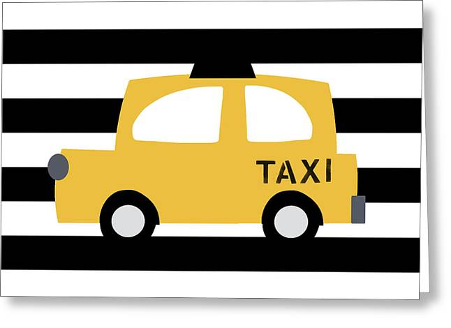 Yellow Taxi With Stripes- Art By Linda Woods Greeting Card
