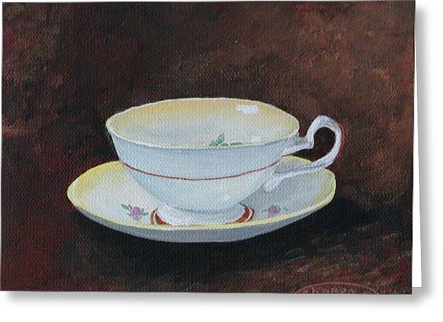 Yellow Teacup Greeting Card by Sharon Steinhaus