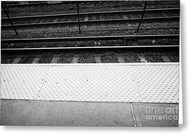 yellow textured edge of platform paving mbta station Boston USA Greeting Card